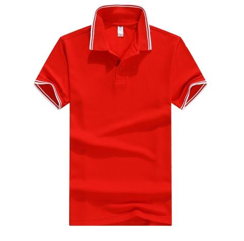 红色短袖POLO衫定制