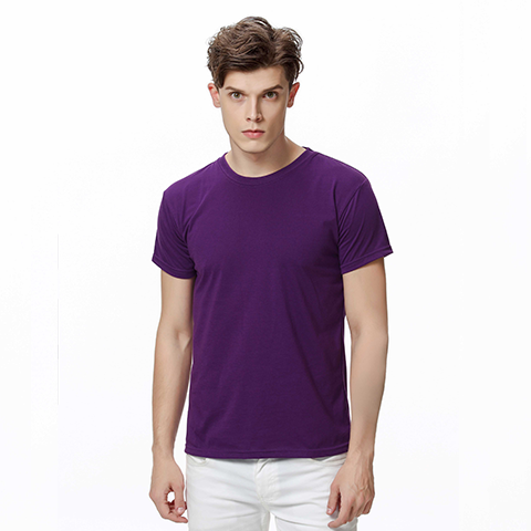 紫色圆领t恤定制
