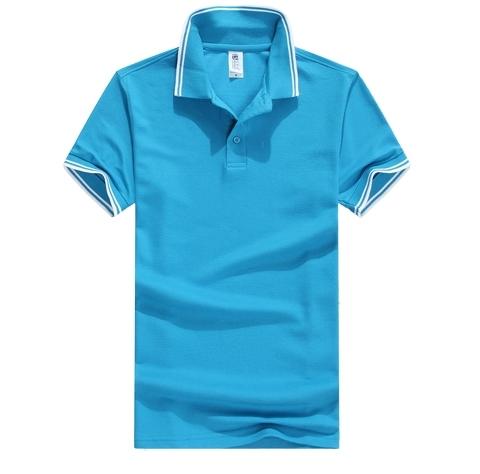 蓝色翻领T恤衫定制