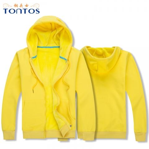 黄色连帽卫衣定制