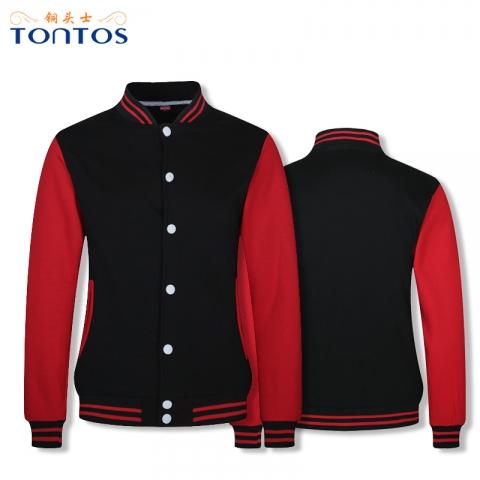 黑红色棒球卫衣